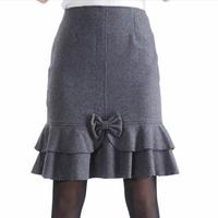 New 2014 Spring Autumn Winter OL Office Women Skirt Double Ruffles Bow Plus Size Slim Woolen Fishtail Mermaid Skirts