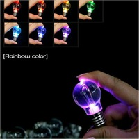 20pcs/lot Best Selling! Small hanging toy changing color led light bulb keychain colorful bulb toys