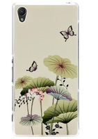 Lotus leaf butterfly Pattern Mobile Phone Case for Sony Xperia Z3 Back Cover