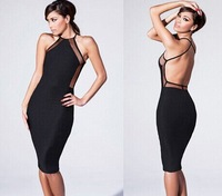 2014 Fashion Women Summer Sexy Dress Women Black Sleeveless Backless Midi Bodycon Party Club Evening Dress Women