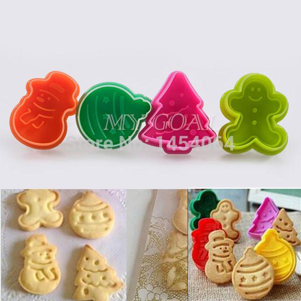 natal 4 pcs fondant bolo cookies pastelaria êmbolo molde do cortador molde decoração 25010109(China (Mainland))