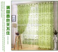 Modern curtains yarn green flowers tulle decorative window  gauze for bedroom