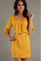 hot sale women dress 2014 summer new fashion casual round neck dress solid Ms. Ms. Ms. sleeve dress mini dress women clothing