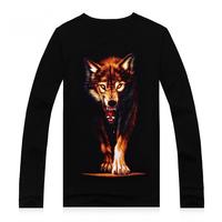 New fashion male's long sleeve 3d Ferocious wolf print t shirt men's quality warm t shirt Promotion