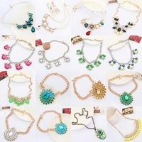 statement necklace, Bohemian style colored Resin flowers bib jewelry, cluster women bold chunky Rhinestone teardrop necklace