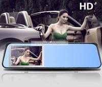 "Dashboard Cam HD 1080P 4.3"" Blue Rearview Mirror DVR Allwinner F20 Chip Car Black Box H.264 Night Vision Motion Detection"