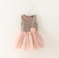 High Quality Sequined  Party Flower Vest  Dresses For Baby Girl, Princess Floral  Clothing Wholesale 5 pcs/lot, Free Shipping