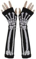 10 Pairs/Lot Halloween Fashion Punk Skull GOTHIC Goth Horror Mens Womens Misfit Skeleton Bones Fingerless Black Work Gloves