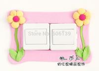 New style Creative stick pink flower double switch sticker socket sticker free shipping