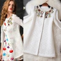 2014 Unique design new hot  stylish and comfortable Wild lace chiffon jacket coat Diamond beaded lace long sleeve  jacket