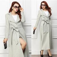 Plus Size XXXL Fall Fashion Elegant Womens Ladies High Waist X-long Woolen Trench Coat , Women Female Formal Slim Wool Coats