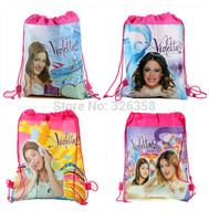 12pcs/lot Children Cartoon Violetta Drawstring Backpack/Kids Cartoon School Bags,Mixed 4 Designs,Kids Birthday Party Gift