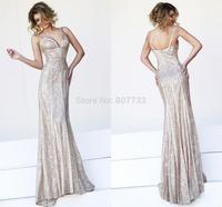 CY4175 Sexy Low Back Champagne Mermaid Sequin Evening Dresses Long Beaded Fishtail Vestido de Gala