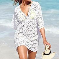 2014 new summer beach swimwear lace bikini cover up pareo tunic dress white color S M L XL hot sale