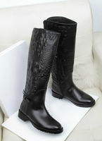 Newest Name Brand Crocodile Pattern Pure Leather Autunm Knee High Boots
