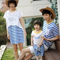 new arrival lover sports his-and-hers boy girl family fitted pack parents with children cotton T-shirt dress striped navy active