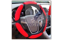 2014 Hot Sales Red 3D Archaize Coining Environmental Protection White Latex Steering Wheel Covers 4414
