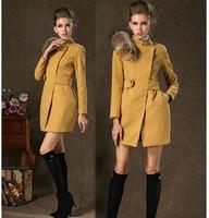 2014 Winter Luxury Real Fox Fur Collar Woolen Jacket, Elegant Ladies Black/Camel Wool Coat with Detachable Fur Collar