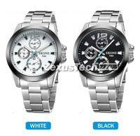 Fashion Brand SKONE Men Full Steel Quartz Watch For Man Casual Dress Wristwatches Black White Dial Silver Band Watches