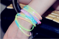 Wholesale Price Silicone Bracelet Fluorescent Rubber Bracelets CBA Bracelet for Women Men Free Shipping 120pcs/lot