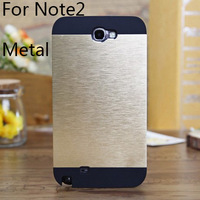 Original Ultra-thin luxury Metal Aluminum wire drawing cover samsung Galaxy Note II case N7100 Note2 Note 2 cases