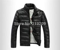 New 2014 winter jacket men cotton PU Leather down man Coat Military Jackets,Jaqueta Masculina Casaco Masculino Warm Clothing