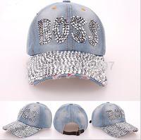 Retail 2014 new Retail Diamond Point BOSS letters cowboy denim caps women baseball cap rhinestone print men Hats Free shipping
