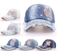 Wholesale 2014 new Diamond Point Applestyle Glass denim caps women baseball cap men Hat rhinestone print 5pcs/lot Free shipping