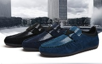Navy solid round toe suede genuine leather men's flats snakeskin men's causal shoes plus size 44  men's moccasins rubber shoes