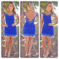 Women blue lace dress cute Transparent chiffon halter short-sleeved lace mini dress