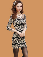 2014 new promotional nightclub sexy fashion bud mesh yarn sexy strapless long-sleeved package hip dress 2122 free to send