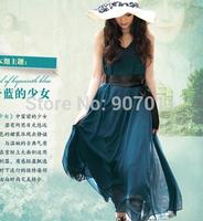 2014 new promotional malachite green oversized double chiffon skirt chiffon dress 3104 free swing sent