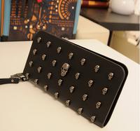 2014 wallet long design women's wallet vintage punk skull rivet day clutch bag mobile phone bag