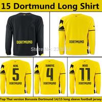 Top Thai version 14 15 Borussia Dortmund long sleeve Soccer Jersey REUS GUNDOGAN home football shirt BVB soccer uniforms