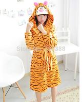 Funny Cartoon Cute Women Men Tigger Tiger Winter Warm Hooded Robe Coral Fleece Flannel Bathrobe Nightgown Bath robe Plus size