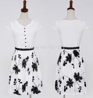 2014 new promotional Korean women short-sleeved dress ladies Slim and long sections chiffon skirt 2265 free cash sent