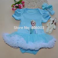 free shipping baby formal dress princess christmas frozen elsa tutu dress and headmand set baby girls party dresses kids