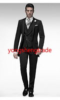 2014 New Style Wedding Suit Monochrome Short Frock Coat With Asymmetrical Double-Breasted Waistcoat Custom Made Tuxedo MS0389