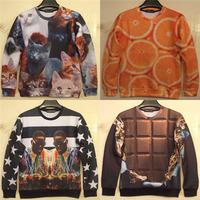chocolate/Lemon orange print 3D fruit sweater women hoodies unisex autumn sweatshirt funny lulu mouth-watering pullovers