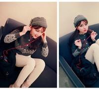 Free shipping 2014 new design Lovely  warm edge of  hat cap tide female winter earmuffs cap wool knitted cap