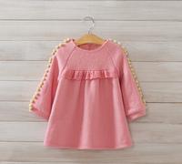 2014 New autumn winter,girls fashion woolen dress,long sleeve,lace,cotton ball,pink/yellow,5 pcs/lot,wholesale,1856