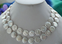 """W&O653 >>>>P4589 32"""" 15mm white coin freshwater cultured pearl necklace"""