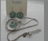 Green Pearl With Silver Tone Necklace And Earring Jewelry Set  ls
