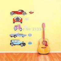 [Saturday Mall] - new cartoon retro car wall sticker decoration removable nursery kids bedroom wall decor decals boy like 5310