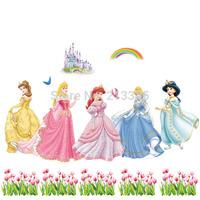 [Saturday Mall] - min 1pcs new cartoon nursery children's room decor girl bedroom wall decals princess castle wall stickers 5306