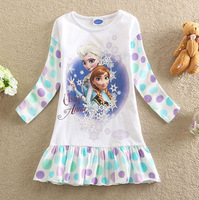 New Children Clothings Frozen Catoon Princess Long Sleeve Cotton Girls Children's Dress Free Shipping LD0522