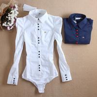 women shrug shoulders metal  collar pocket blue white elegant bodysuit shirts  white blue