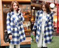 New 2014 Spring Plus Size Cardigan Windbreaker Women Trench Coat For Lady Women's Trench Coats Overcoat Blue Autumn Winter