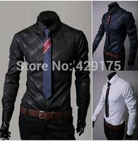 2014 shirt fashion camisa social shirt slim fit long sleeve dress shirt designer Luxury men's casual shirt blusas masculinas