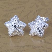 E032 Wholesale 925 silver earrings, 925 silver fashion jewelry, Polished Star Earrings /ayjajpqasg